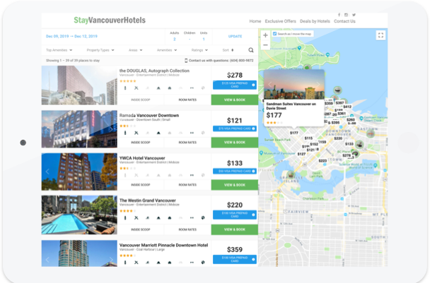 Stay Vancouver Hotels booking engine